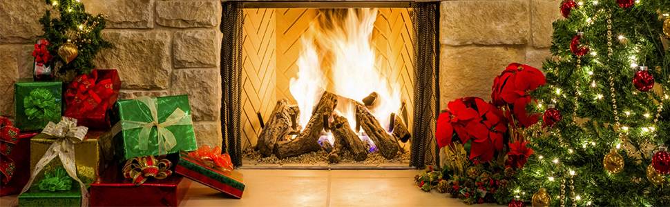 DORCEV 10x8ft Christmas Festival Photography Backdrop Wooden Texture Floor Burning Fireplace Background Winter Christmas Weekend Family Party Banner Photo Studio Props Wallpaper