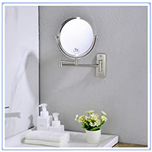 anpean wall mount makeup mirror 7X brushed nickel