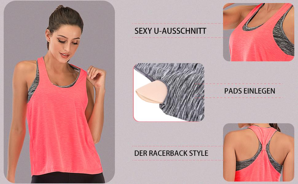 FAFAIR 1//2per Pack Sporttop Damen Tank Top und Sport BH Lauftop Fitness /Ärmelloses Shirt