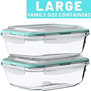 Vallo glass food storage containers airtight leak proof snap lock lids meal prep tupperware 2 pack