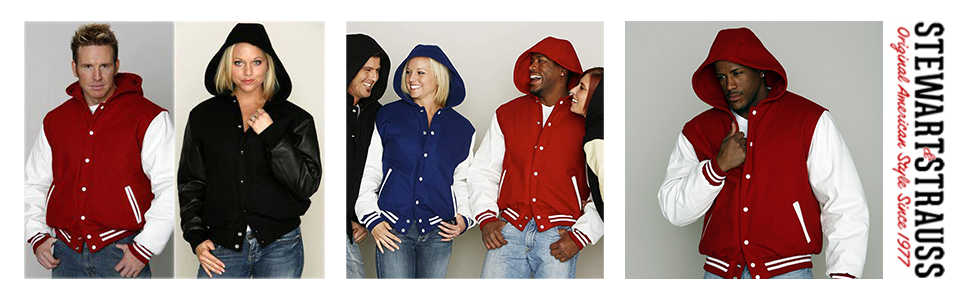 Stewart and Strauss Original Hoodie Varsity Letterman Jackets Wool and Leather