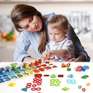 wooden number puzzle count and sort stacking tower wooden number for kids montessori sorting