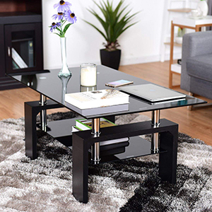 moderno con ripiano inferiore Nero in vetro nero Leisure zone/® rettangolare Tavolino da caff/è per salotto
