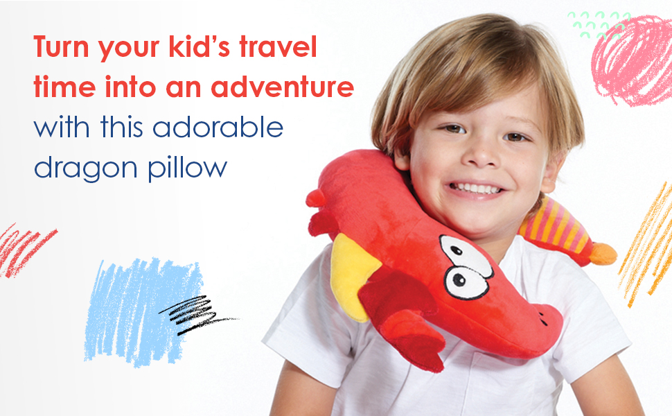 Turn your kid's travel time into an adventure with this adorable dragon pillow