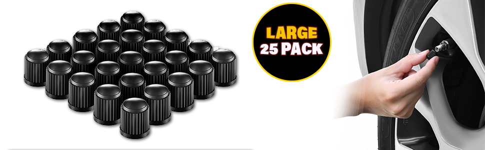 12f1b0ef 2ca2 49ad 9ee3 1e3a8741a481. CR0,0,970,300 PT0 SX970 V1 - Valve-Loc Tire Valve Caps (25-Pack) Black, Universal Stem Covers for Cars, SUVs, Bike and Bicycle, Trucks, Motorcycles | Heavy-Duty, Airtight Seal | Screw-On, Easy-Grip Use (Black)