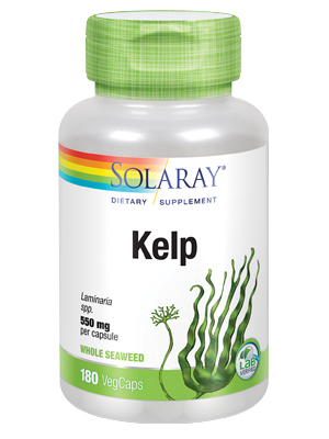 Solaray Kelp 550 mg with Folic Acid for Healthy Thyroid Function Energy Metabolism Support Non-GMO
