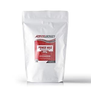 ActiveVikings Bolsa Power Mag Chalk de 200 g, carbonato de magnesio ideal para escalada, escalada en búlder, fitness y entrenamiento de fuerza