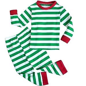 FANCYINN Niños A Rayas Ropa de Dormir Niños pequeños Chicas Mangas largas Conjuntos de Pijamas de algodón para niños 1-7 años