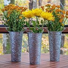Galvanized Metal Farmhouse Flower Vases