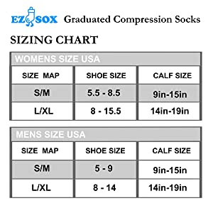 Amazon Com Ez Sox Compression Socks 20 30 Mmhg Seamless Toe For Men Women Clothing