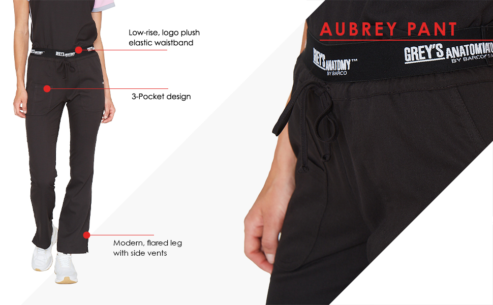 aubrey pant infographic highlighting features of the product