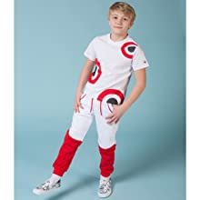 Pierre Cardin kids t shirt and sweatpants red and white set, cursive pierre cardin logos on pant