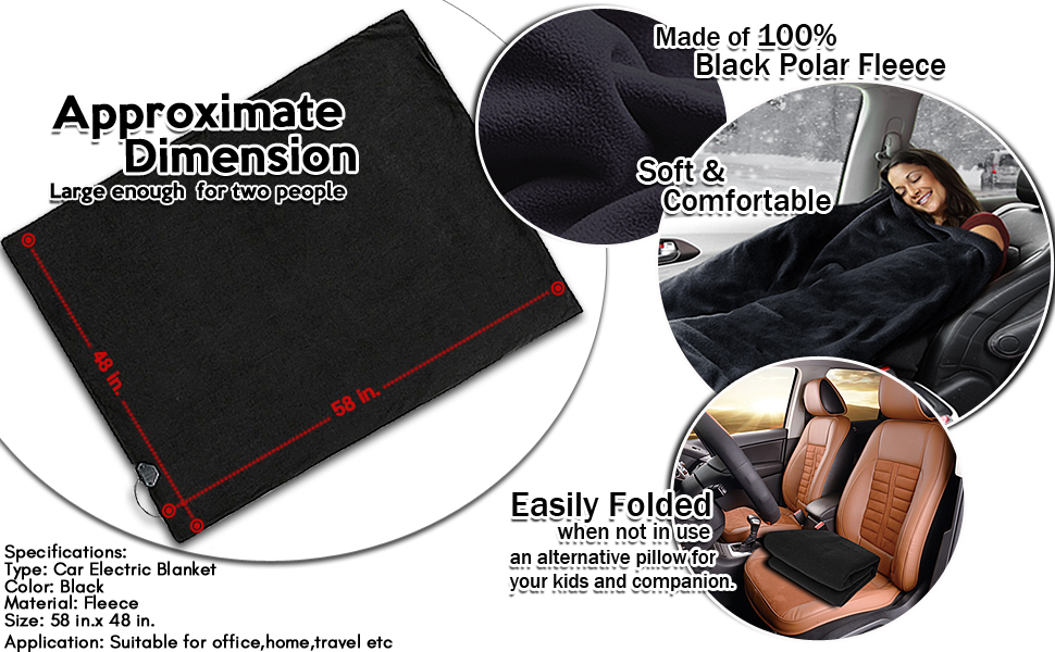 Cold Days and Night Road Trips Black Premium Quality 12V Automotive Polar Fleece Material Comfortable Seat Blanket Great for Winter Zone Tech Car Travel Blanket