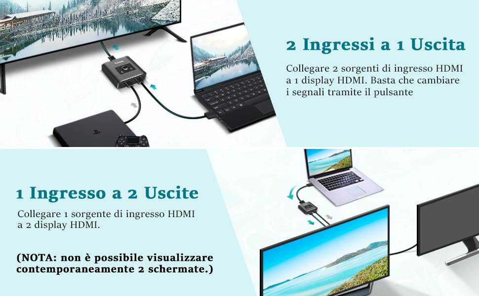 Alluminio Switch HDMI Bidirezionale 2 Ingressi 1 Uscita o 1 Ingresso 2 Uscite, 4K Commutatore HDMI