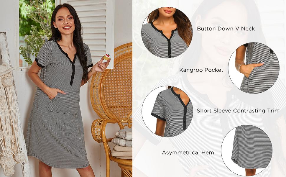 Ekouaer Sleepwear Women's Nightgown Cotton Striped Short Sleeve Long Nightshirt Front Pocket S-XXL