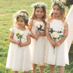 Arshiner Girl Dress Short Sleeve Flower Girls Lace Dress Casual Country Dresses for Kids 4-13 Years