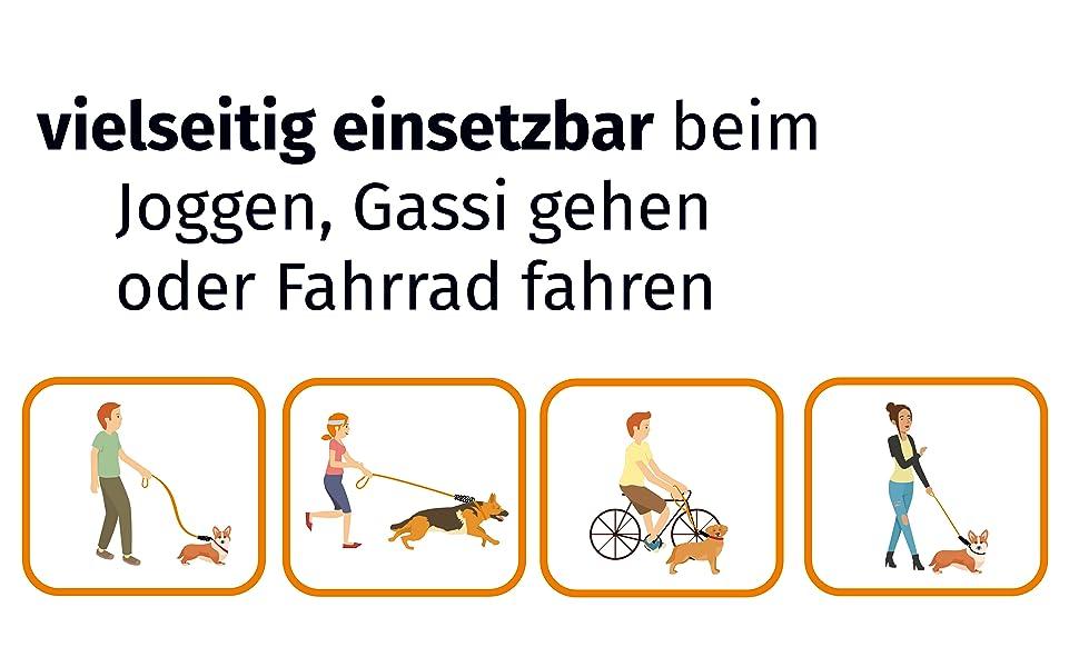 vielseitig einsetzbare Leinenverlängerung Fahrrad fahren