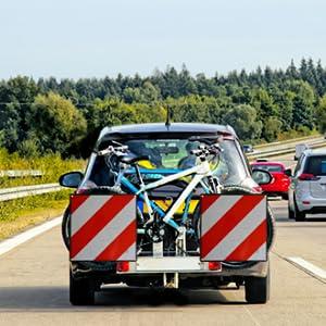 Auto hanger waarschuwing film waarschuwing borden fiets drager achterdrager reflector plaat fiets schild