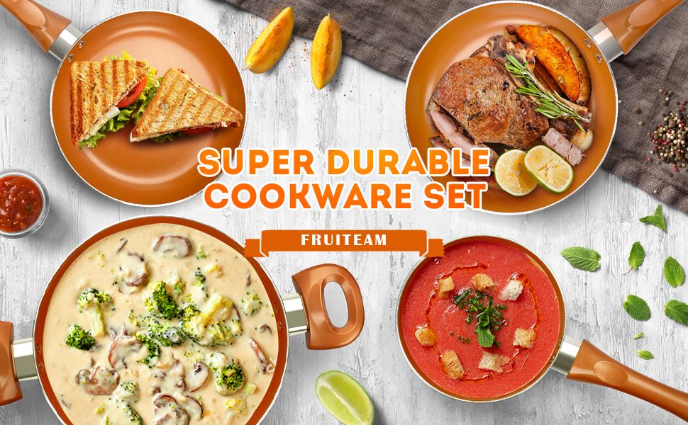 6 piece Nonstick cookware set induction