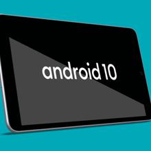 Tableta que muestra Android 10