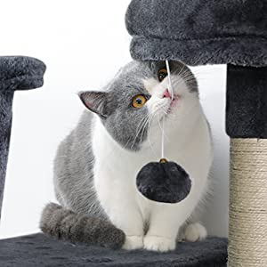 Cat Tree Cat Tower 61-inch Multi-Level Kitten House Condo with Scratching Posts & Hammock