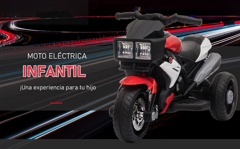 HOMCOM Moto El/éctrica Infantil con 3 Ruedas para 3 A/ños Triciclo con Pedal para Ni/ños Bater/ía 6V con Luces M/úsica Neum/áticos Anchos Velocidad M/áxima de 3 km//h 86x42x52 cm Rojo