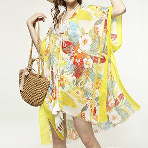 Floral Beach Cover Up Hawaii Print Kimono