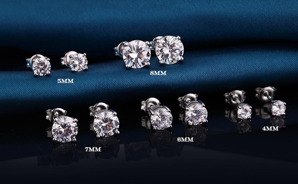 Amazon Com Han Han Mens Diamond Studs Stud Earrings For Men Cz Diamond Stud Earrings For Women Cubic Zirconia Stud Earrings Sterling Silver Stud Earrings Men Stud Earrings Cz Diamond Stud Earrings Men