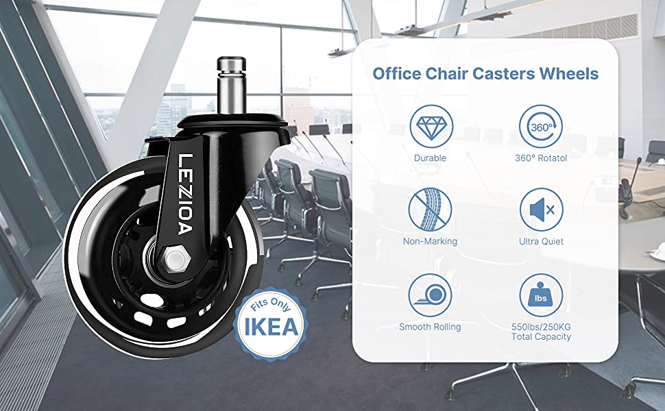 roller casters wheels office chair rubber wheel replacement  computer chair wheels hardwood floors