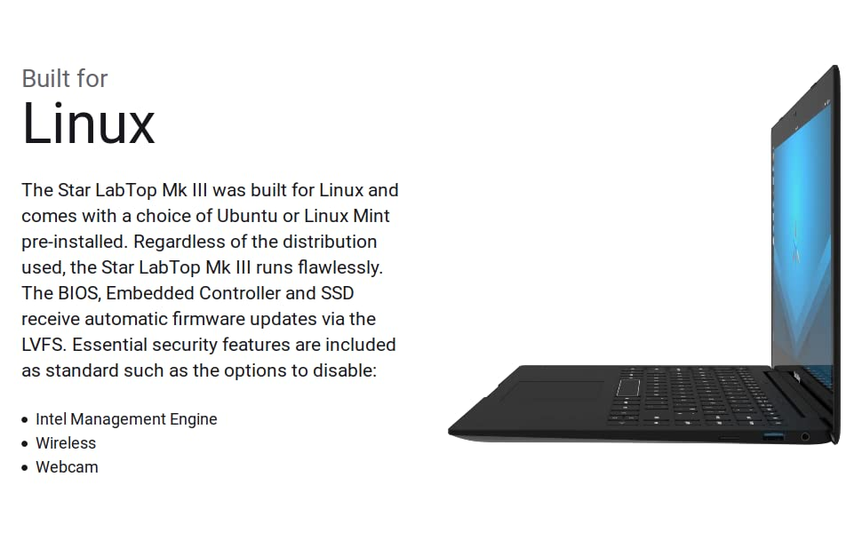 Star LabTop 13 3-inch Ultrabook Laptop (480GB OP SSD Storage, Ubuntu  18 04 2 LTS)
