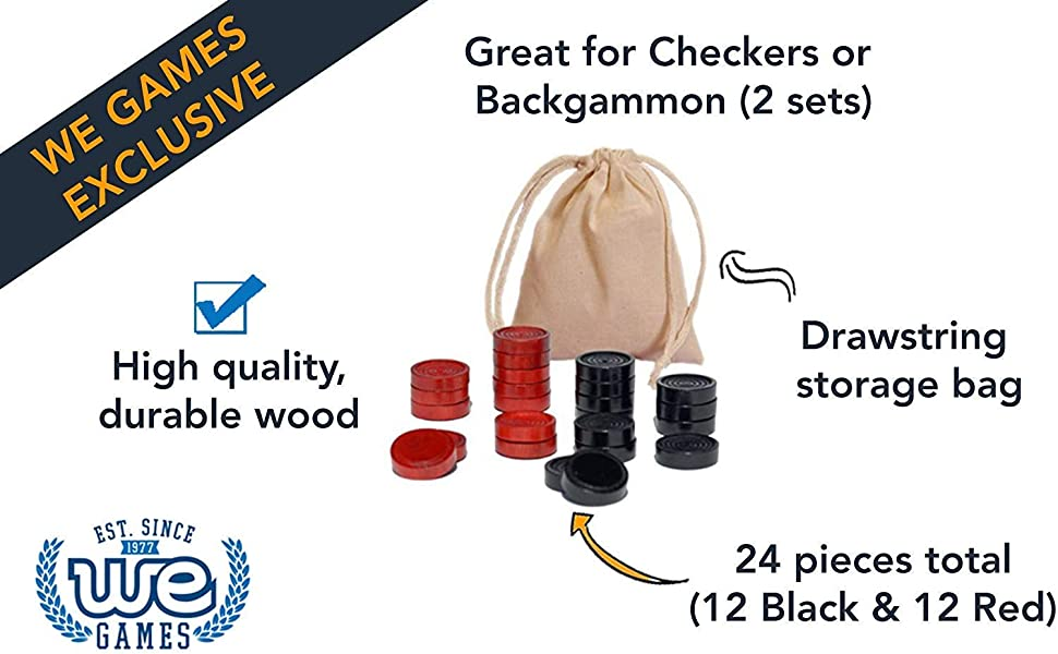 black and red wooden checkers