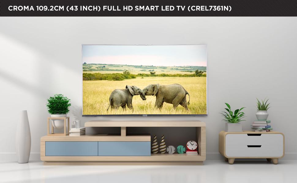 Croma 109.2cm (43 inch) Full-HD LED Smart TV (CREL7361N, Black)