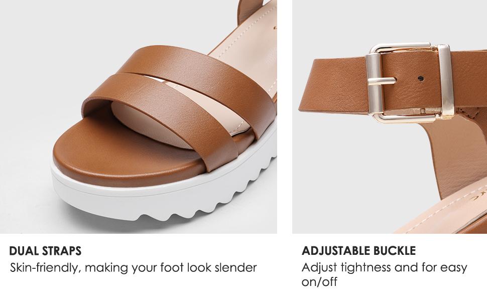 DREAM PAIRS Women's Black Low Wedge Sandals