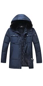 Men's Winter Coat Thicken Hooded Parka Jacket with Removable Fur,Multiple Pocket