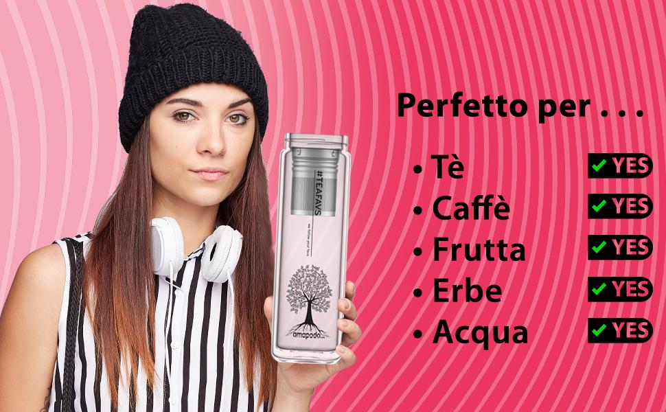 Amapodo Teiera Design teeflasche Filtro Tè /& Coperchio setaccio perfetto per tè senza