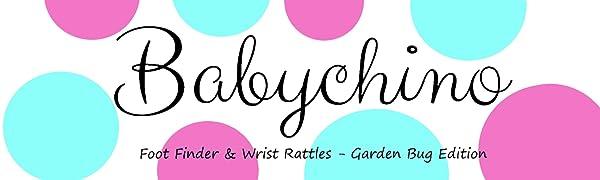 Babychino logo - foot finder & wrist rattles - Cute Garden Bug Edition