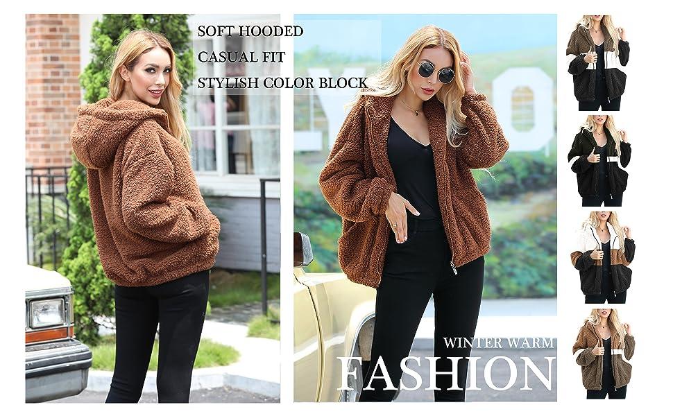 Women's Long Sleeve Zipper Sherpa Jacket Fuzzy Fleece Winter Casual Hooded Outwear Jackets Coat