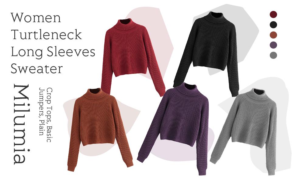 Milumia Women Turtle Neck Long Sleeves Sweaters