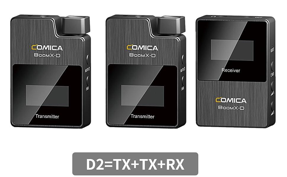 Comica, Comica BoomX-D, безжичен микрофон , 1-Trigger-2,2.4G Цифров 1-Trigger-2 безжичен микрофон