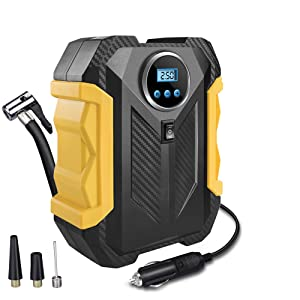 13780395 bcfe 4057 85b8 98a41ed9559d. CR0,0,1000,1000 PT0 SX300 V1 - Surwit Portable Tire Inflator Pump, DC 12V Car Tire Air Compressor, Auto Shut Off Feature, Digital LCD Display, Emergency LED Flashlight, for Car Truck Motorcycle Bicycle Tires