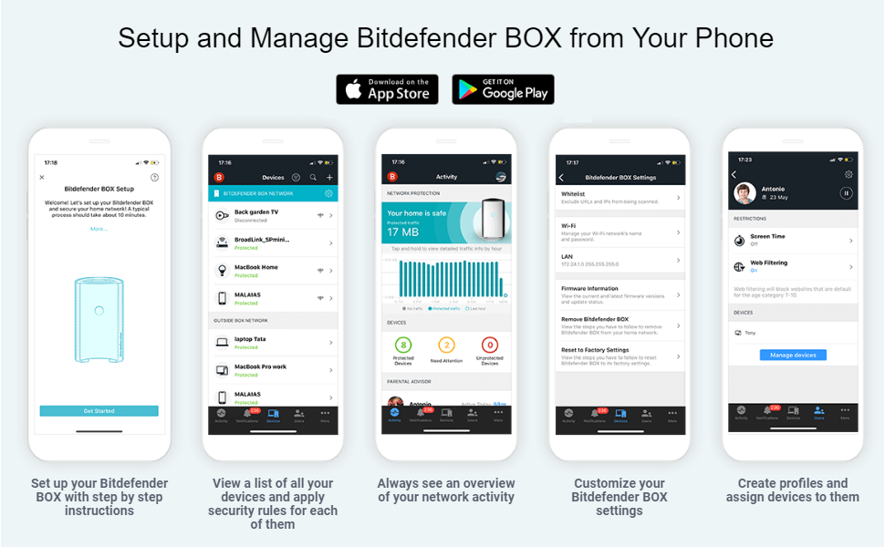 setup and manage bitdefender box from your phone