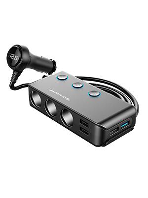 シガーソケット 2連 3連 増設 コンバーター インバータ コンセント 車中泊 バッテリーチェッカー コンバータ 車載充電器 USB USB電源 シガーライター カーインバーター カーバッテリー