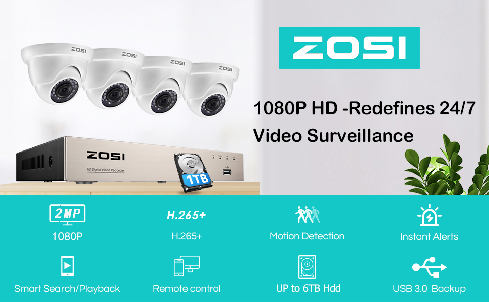 ZOSI H.265+ 8 Channel 1080p Home Security Camera System 1TB HDD 2MP Surveillance DVR 4 CCTV Cameras