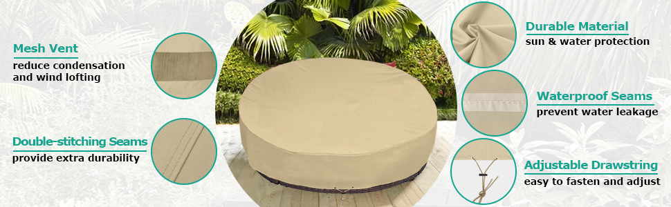 Sunpatio Round Patio Daybed Cover 88 Inch Heavy Duty Waterproof Outdoor Canopy Daybed Sofa Cover With Taped Seam 88 L X 85 W X 35 16 H All Weather Protection Beige Kitchen