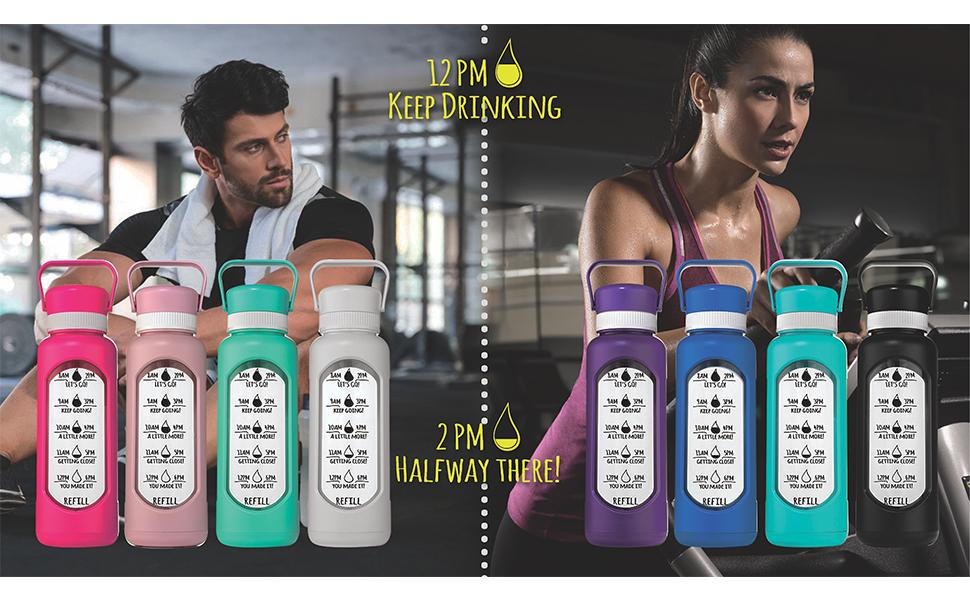 HydroMATE time marker motivational water bottles Glass