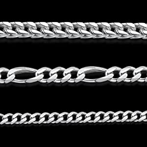 Amberta 925 Sterling Silver Necklace for Men - Flat Figaro Chain 3.9 mm Thick