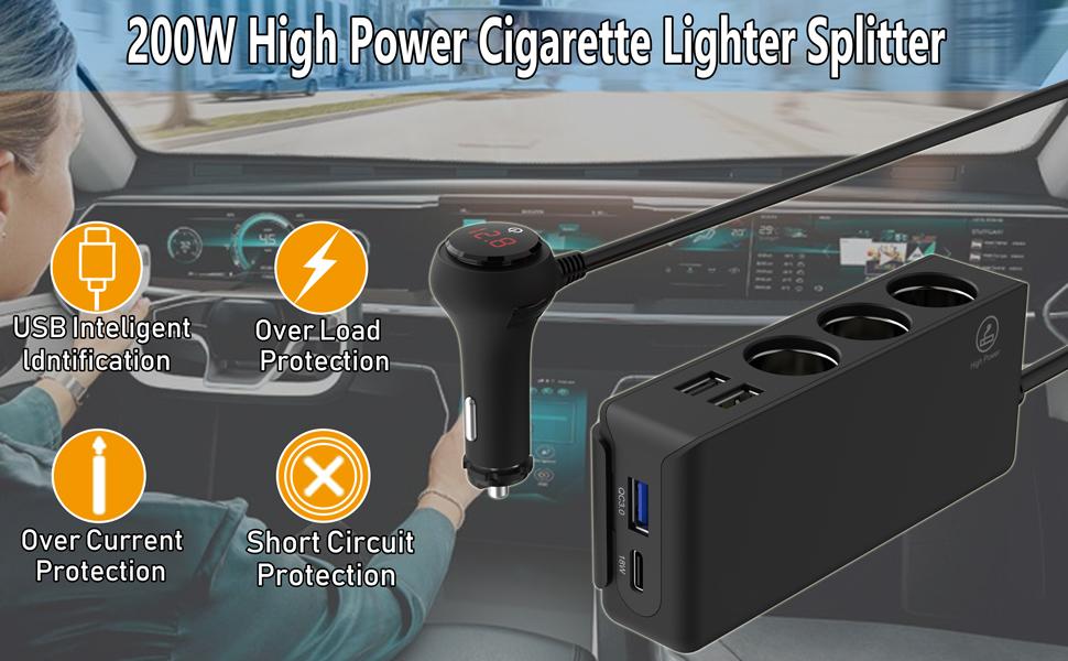 high power cigarette lighter splitter
