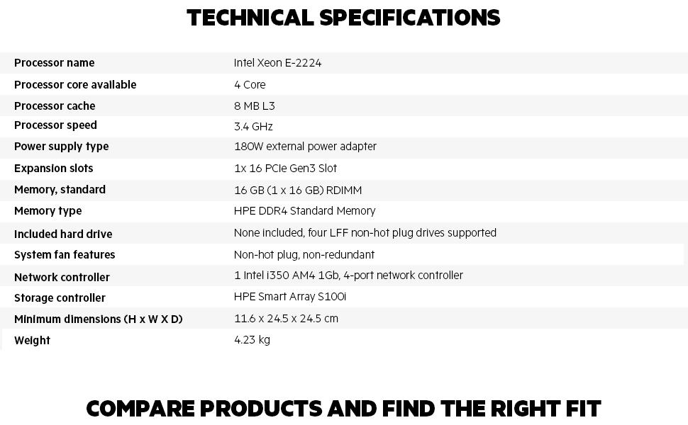 HPE MicroServer Gen10+ P16006-001 Tech Specs
