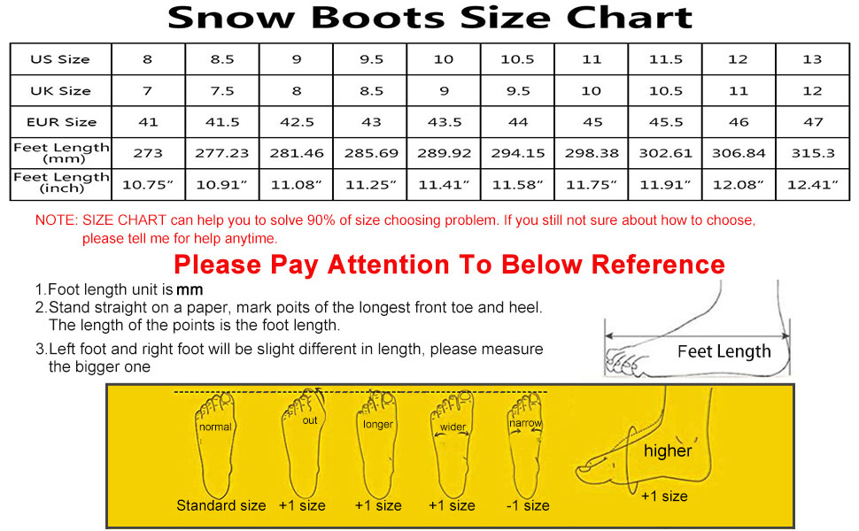 Snow boots for men size