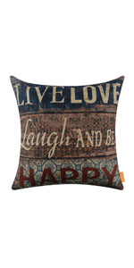 "LINKWELL 18""x18"" Vintage Wood Slat Live Love Pillow Cover"